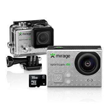 """Câmera de Ação Sport 4K/Cartão 16GB LCD 2"""" 16MP MR3001 Prata - Mirage"""