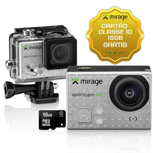"""Câmera de Ação Sport 4k, Tela de LCD 2"""" 16mp + Cartão 16gb Prata Mirage - MR3001"""