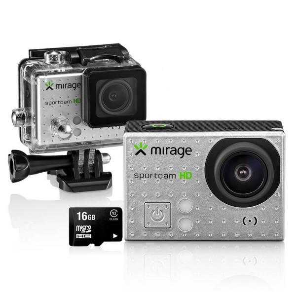 """Câmera de Ação Sport HD/Cartão 16GB LCD 2"""" 5MP MR3000 Prata - Mirage"""