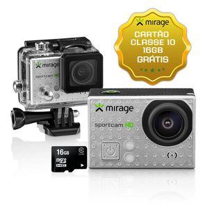 """Câmera de Ação Sport HD, Tela de LCD 2"""" 5MP + Cartão 16GB Prata Mirage - MR3000"""