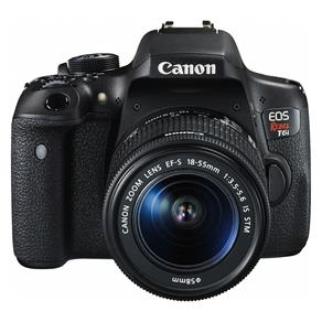 "Câmera Digital DSLR Canon EOS Rebel T6I com 24.2 MP, LCD 3.0"", Sensor CMOS, Full HD e Wi-Fi"