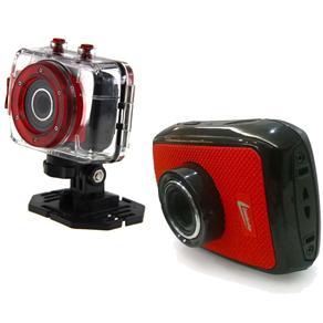 Câmera Leadership Sport HD 6120 – Preta/Vermelha 5.0MP, LCD 1.77, com Entrada Micro SD, Sensor de Imagem CMOS e Gravação de Vídeo HD
