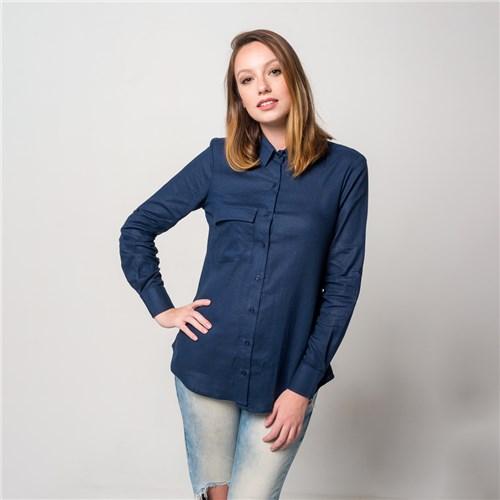 Camisa de Linho Visco Azul Marinho