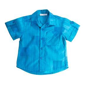 Camisa Jacar com Bolso - Azul - G