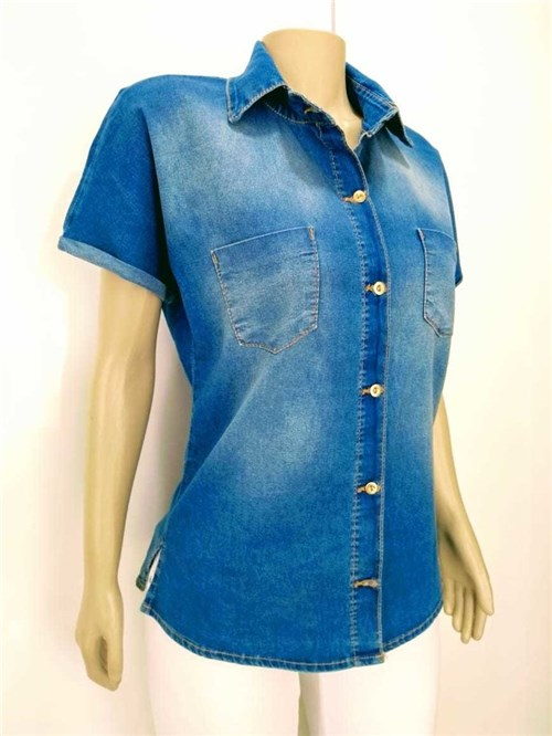 Camisa Jeans com Bolso (Azul Jeans Escuro, G)