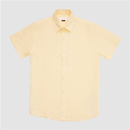 Camisa Linho Manga Curta Amarela / M / Amarela