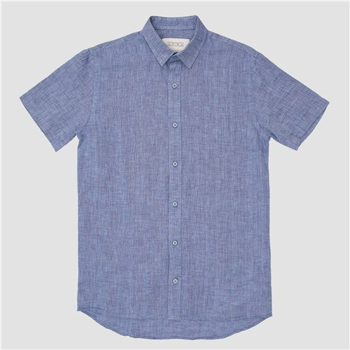 Camisa Linho Manga Curta Azul Mescla / M / Azul Mescla