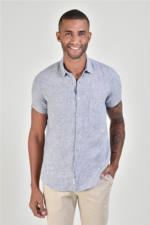 Camisa Linho Manga Curta Listrinha