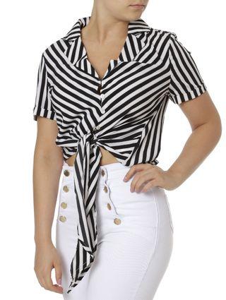 Camisa Manga Curta Feminina Preto/branco