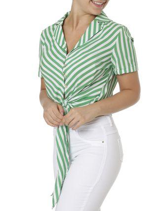 Camisa Manga Curta Feminina Verde/branco