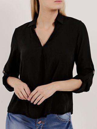 Camisa Manga Longa Feminina Preto