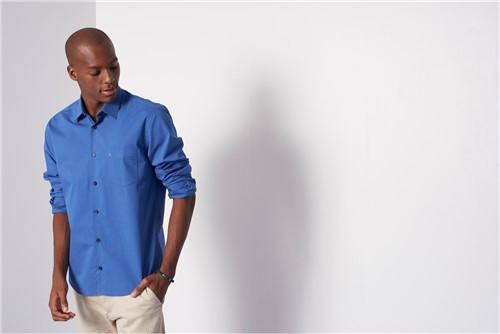 Camisa Menswear com Bolso - Azul - P