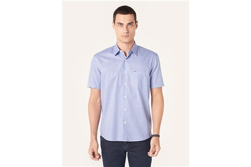 Camisa Menswear Xadrez com Bolso - Azul - P