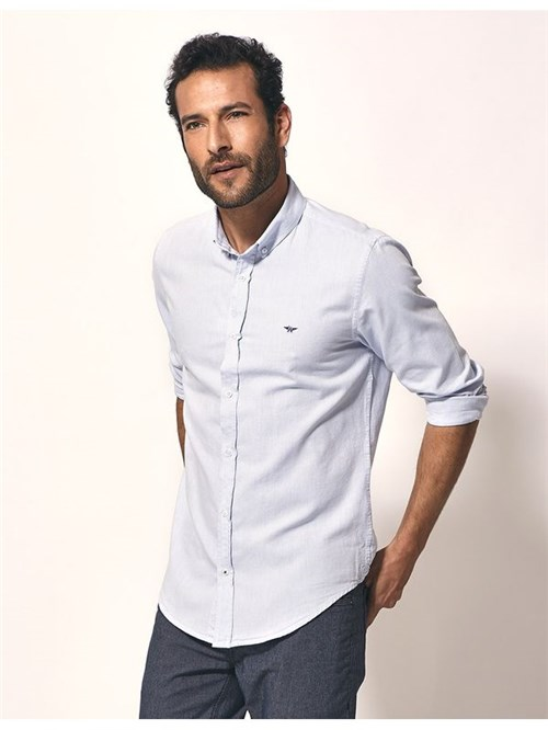 Camisa Oxford Slim Fit Azul Claro