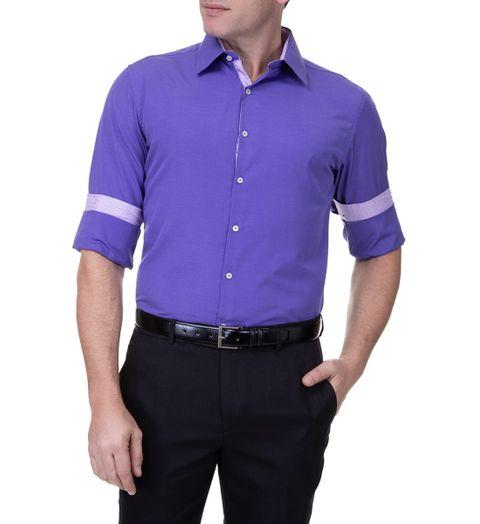 Tudo sobre 'Camisa Social Masculina Roxa Lisa - 2'
