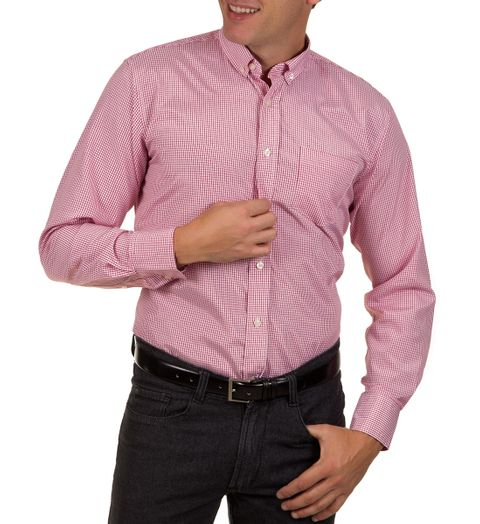 Tudo sobre 'Camisa Social Masculina Vermelha Xadrez - 2'