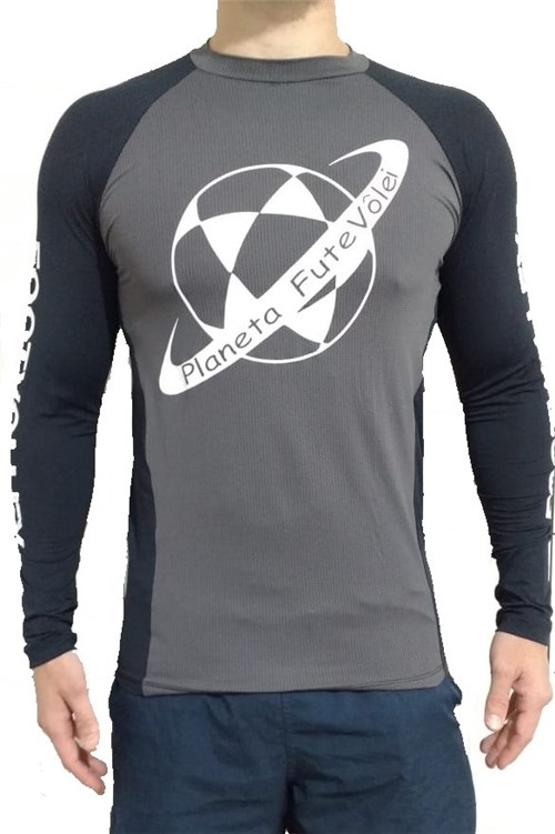 Tudo sobre 'Camisa UV PLANETA Cinza e Preta'