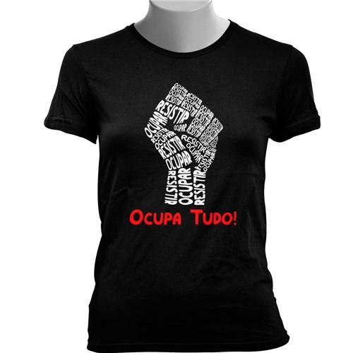 Camiseta Baby Look Ocupa Tudo! (Preto, M)