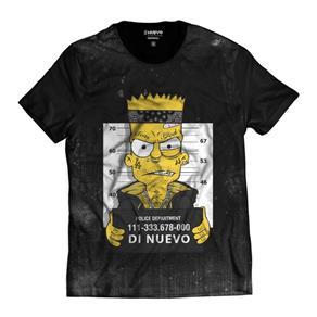 Camiseta Bart Simpsons Preso Masculina - PRETO - G