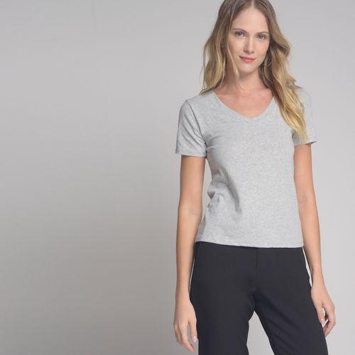 Camiseta Básica Gola V Cinza - M