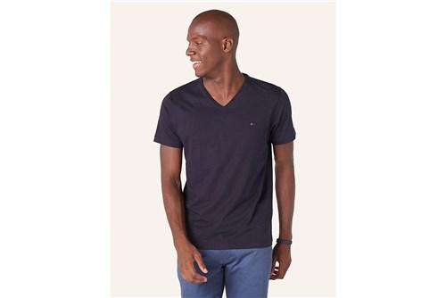 Camiseta Básica Gola V - Marinho - G
