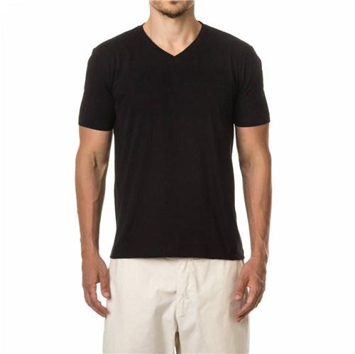 Camiseta Basica Gola V - Preta