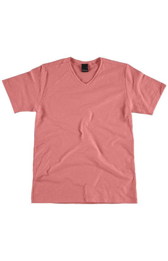 Camiseta Básica Gola V Rosa - 1