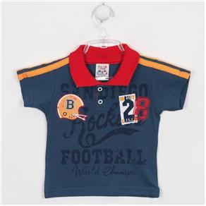 Camiseta Bebê Masculina Manga Curta Gola Polo - G - AZUL BEBÊ