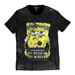 Camiseta Bob Esponja Preso Masculina - PRETO - XG