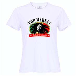 Camiseta Bob Marley Rosto Feminina - P - Branca