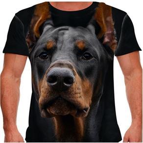 Camiseta Cachorro Dobermann Masculina PV - P - Preto