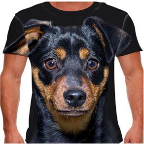 Camiseta Cachorro Pinscher Masculina PV - EXG - Preto