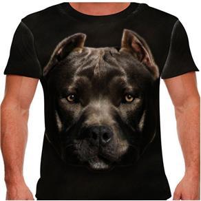 Camiseta Cachorro Pitbull Masculina PV - EXG - Preto