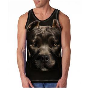 Camiseta Cachorro Pitbull Regata Masculina - G - Preto