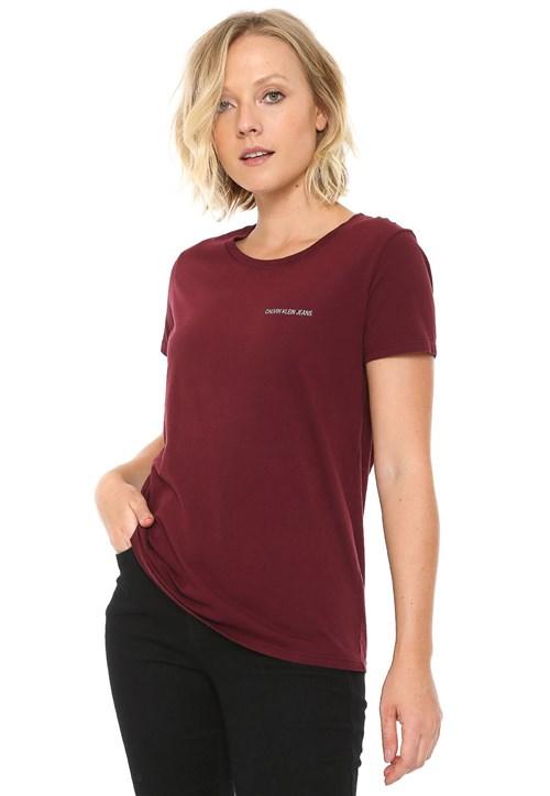 Camiseta Calvin Klein Jeans Logo Vinho