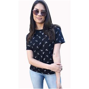 Camiseta Feminina Gola Redonda - 418 - PRETO - G