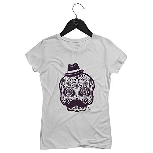 Camiseta Feminina Mexican Skull   Branca - P