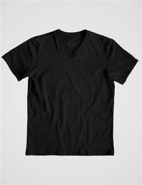 Camiseta Gola V Básica Preta