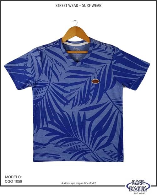 Camiseta Gola V Estampada Azul (2)