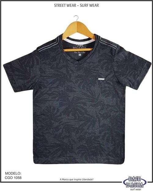 Camiseta Gola V Folhagem Preto (2)