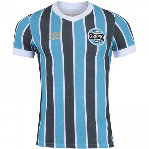 Camiseta Grêmio Retro 1983 Umbro Azul Celeste/Preto/Branco