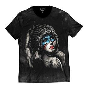 Camiseta Índia Style Masculina Americana - PRETO - P