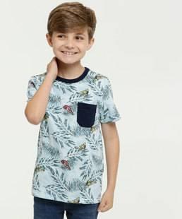 Camiseta Infantil Estampa Folhas Manga Curta