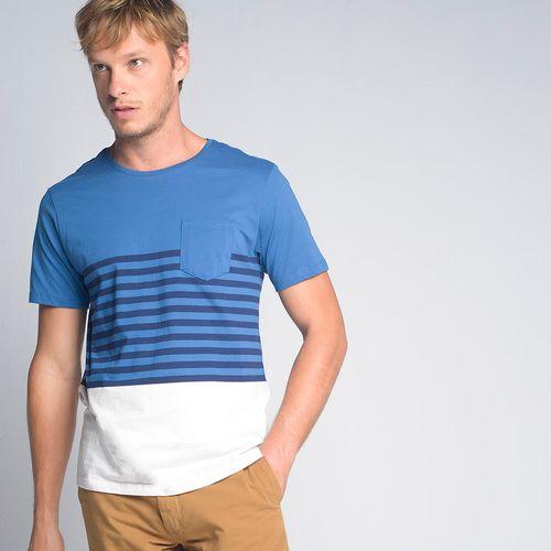 Camiseta Listrada Bolso Azul - GG