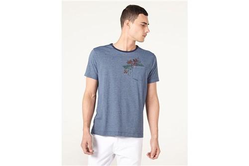 Camiseta Listrada com Bolso - Azul - M