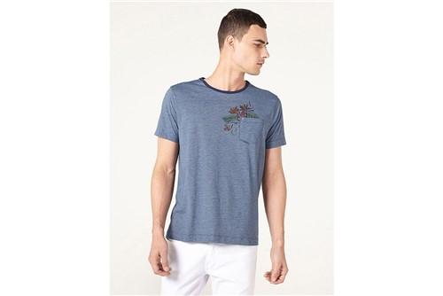 Camiseta Listrada com Bolso - Azul - XGG