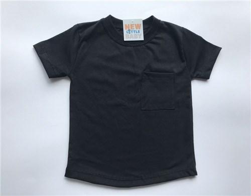 Camiseta Long com Bolso Preto (G)