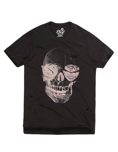 Camiseta Masculina Caveira Óculos Preto
