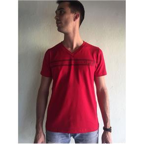 Camiseta Masculina Gola V - 446 - VERMELHO - G