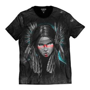 Camiseta Masculina India Tribo Americana - PRETO - P